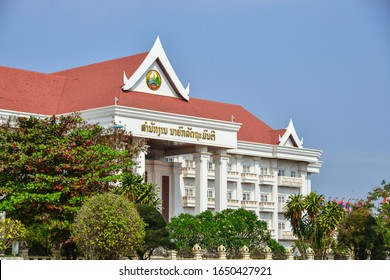 Vientiane, Laos - Jan 29, 2020. Government building in Vientiane, Laos PDR. Laos is a socialist state and the only landlocked country in Southeast Asia.