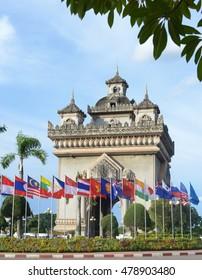 Vientiane, LAOS - Jul 10, Patuxay Monument at Vientiane, Laos on Sept  3 , 2016, ASEAN Summits 2016, Laos