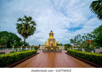 VIENTIANE, LAOS - JULY 20, 2018 : Wat Phra That Luang is a Buddhist temple. Located in Vientiane, the capital of Laos.