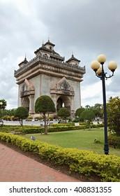 Vientiane, Laos. - NOV 29:2012. Before rain at Patuxai is a war monument in the centre of Vientiane, Laos