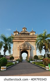 Vientiane, Laos. - NOV 29:2012. Morning at Patuxai is a war monument in the centre of Vientiane, Laos