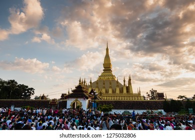 vientiane, laos - november 22, 2018: pha that luang at the full moon festival. landmark of the country and national sanctuary.