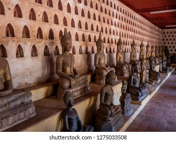 vientiane, laos - november 22, 2018: sim temple. more than 2000 niches with buddha statues