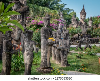 vientiane, laos - november 22, 2018: xieng khuan - buddha park. collection of statues of buddhist and hindu gods.