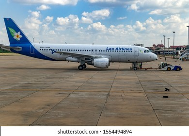 VIENTIANE, LAOS, OCT 28 2016, Airplane of Lao Airlines standing at The Wattay International Airport, Vientiane, capital of Laos.