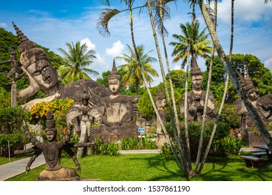 VIENTIANE, LAOS - OCTOBER 05, 2019: Buddha park Xieng Khouane in Vientiane, Laos. Famous travel tourist landmark of Buddhist stone statues and religious figures.
