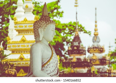 VIENTIANE, LAOS - OCTOBER 05, 2019: Laos, Old Buddha image in Wat Sisaket popular place to visit in Vientiane city and landmark, Old buddha statue in laos (Vientiane, Laos)