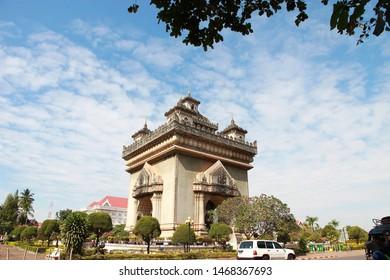 Vientiane, Laos-December 06,2014:Patuxai the name is Laotian language.Patuxai the name is same Patuxay, Patousai and Patusai.