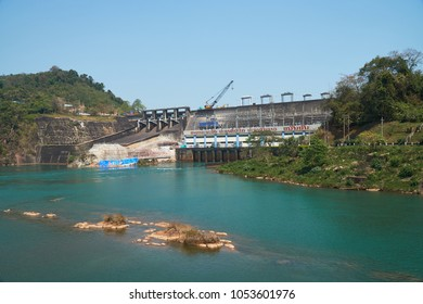 Vientiane Province, Laos - March 4, 2018: The Nam Ngum Hydropower Dam, the first biggest hydropower generates electricity in Laos.