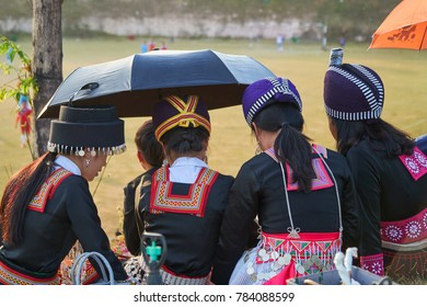 Vientiane Province, Laos - November 26, 2017: The Hmong Teenager wearing Hmong traditional clothes watching the Football Match in Lao Samphanh Stadium, Samket Village.