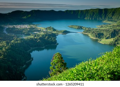 Vier from the abandoned hotel at sete cidades towards the crater lake of sete cidades on Sao Miguel island, the Azores.