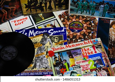 VIERSEN, GERMANY - AUGUST 22. 2019: View on cover collection of vintage vinyl records of Tamla Motown