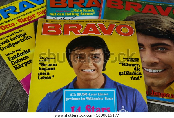 Viersen, Germany - December 28. 2019: Close up of german Bravo teenager magazine cover with Rex Gildo and Roy Black in the sixties