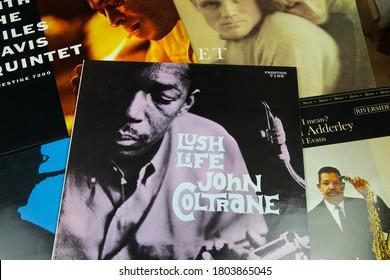Viersen, Germany - July 9. 2020: Closeup of John Coltrane jazz vinyl record cover collection