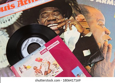 Viersen, Germany - July 9. 2020: Closeup of Louis Armstrong jazz  vinyl record cover collection