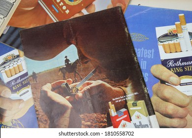 Viersen, Germany - July 9. 2020: View on vintage paper magazines with tobacco advertising from the sixties