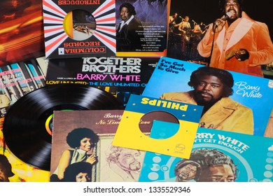 VIERSEN, GERMANY - MARCH 10. 2019: View on Barry White vinyl record collection
