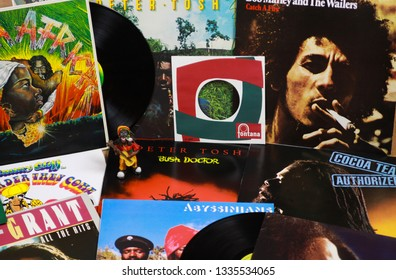 VIERSEN, GERMANY - MARCH 10. 2019: View on collection of reggae vinyl records