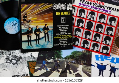 VIERSEN, GERMANY - MARCH 10. 2019: View on collection of original Beatles vinyl retro records