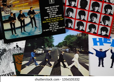 VIERSEN, GERMANY - MARCH 10. 2019: View on collection of Beatles vinyl records