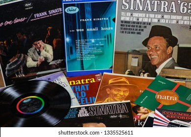 VIERSEN, GERMANY - MARCH 11. 2019: View on Frank Sinatra vinyl record collection