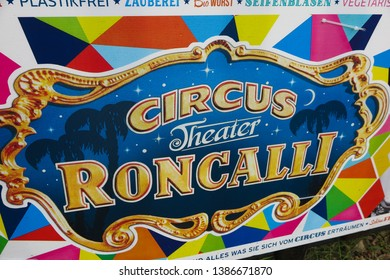 VIERSEN, GERMANY - MARCH 27. 2019: Colorful banner announce appearance of circus Roncalli