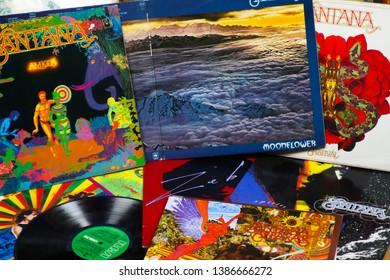 VIERSEN, GERMANY - MAY 1. 2019: View on Carlos Santana vinyl record collection
