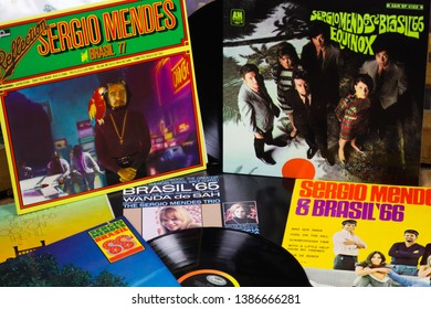 VIERSEN, GERMANY - MAY 1. 2019: View on Sergio Mendes vinyl record collection