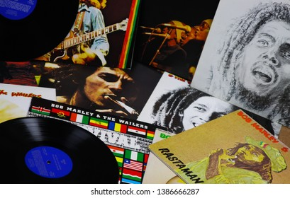 VIERSEN, GERMANY - MAY 1. 2019: View on Bob Marley vinyl record collection