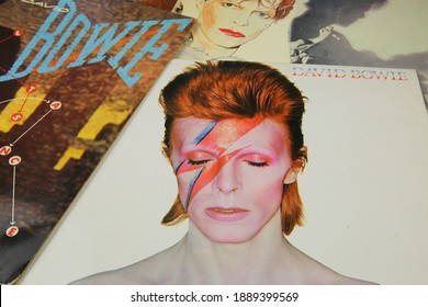 Viersen, Germany - May 1. 2020: Close up of vintage vinyl records cover collection from singer David Bowie (focus on cover in front)