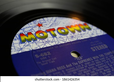 Viersen, Germany - May 9. 2020: Close up of isolated vinyl record album  with logo lettering from Tamla Motwon soul music label (selective focus on letter M left)
