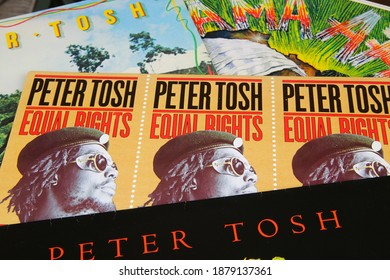 Viersen, Germany - May 9. 2020: Close up of vintage vinyl record covers of reggae singer Peter Tosh (focus on center)