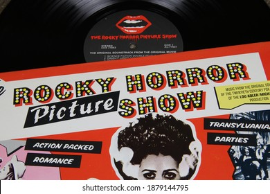 Viersen, Germany - May 9. 2020: Close up of vintage vinyl record cover of rocky horror picture show soundtrack (focus on center)