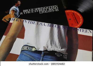 Viersen, Germany - May 9. 2020: Close up of isolated vinyl record covers of singer Bruce Springsteen (focus on center)
