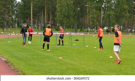 VIERUMAKI, FINLAND - JULY 17,2015:Vierumaki is leisure centre in Finland. It has stadium and football field where teenagers play sports