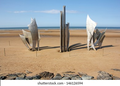 VIERVILLE SUR MER / FRANCE - JUNE 25: Memorial at Omaha Beach on June 25, 2013 in Vierville Sur Mer. This is place of landing  of allied forces during the Normandy D-Day invasion - June 6, 1944.