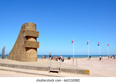 VIERVILLE-SUR-MER, FRANCE - AUG 12:  The Omaha Beach memorial to those who died at Omaha Beach during D-Day, is shown in Vierville-sur-Mer, France on August 12, 2016.