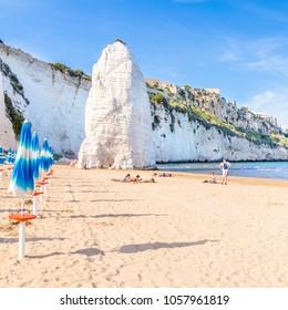 Vieste, Apulia, Italy, 30 May 2017. Beach of Pizzomunno rock, at Vieste, Apulia region , South  Italy