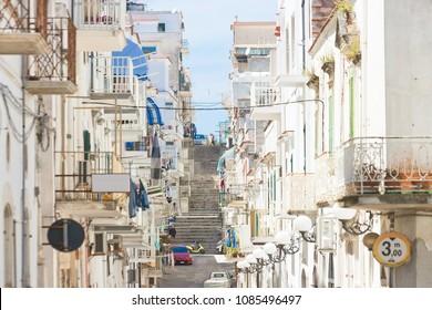 Vieste, Apulia, Italy - Alleyway through the city center of Vieste