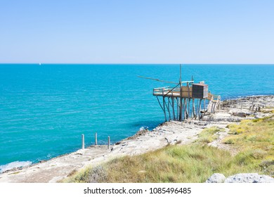 Vieste, Apulia, Italy - Traditional fishing trabucco at the beach of Vieste