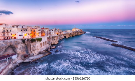 Vieste - beautiful coastal town on the rocks in Puglia. The church of San Francesco di Vieste. Gargano peninsula, Apulia, southern Italy, Europe.