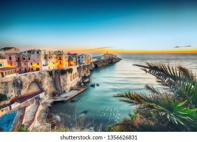 Vieste - beautiful coastal town on the rocks in Puglia. The church of San Francesco di Vieste. Gargano peninsula, Apulia, southern Italy, Europe.