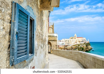 Vieste Gargano Apulia Italy window mediterranean sea village