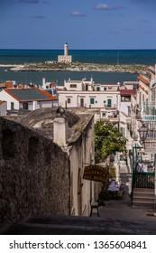 Vieste, Italy - 08 27 2018: Panoramic view of Vieste coast, Gargano, Apulia, Italy