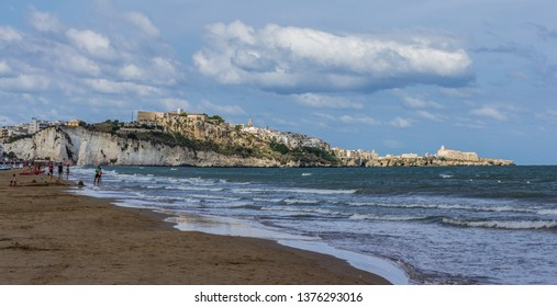 Vieste, Italy - 08 27 2018: A view of the city of Vieste in Italy, Gargano