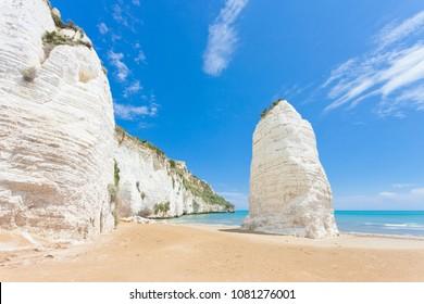 Vieste, Italy, Europe - Chalk cliffs at the beach of Vieste