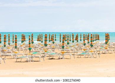 Vieste, Italy, Europe - Sunshades at the clean beach of Vieste
