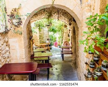 Vieste, IT - Jul 07,2018: Among the alleys of Vieste, Gargano, Puglia