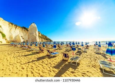 Vieste and Pizzomunno rock beach, Gargano, Apulia, Italy