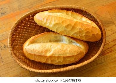 Vietnam bread (Banh Mi) for breakfast in Dalat, Vietnam.
